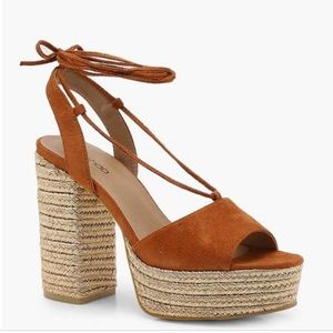 Boohoo Lacey Espadrille Wrap-Up Platforms